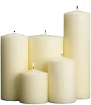 Unscented block candle, set of 5, natural